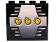 Part No: 4215pb062a  Name: Panel 1 x 4 x 3 with 3 Yellow Circles with Bionicle Code Pattern A on Silver Pattern (Sticker) - Set 8758