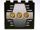 Part No: 4215pb062d  Name: Panel 1 x 4 x 3 with 3 Yellow Circles with Bionicle Code Pattern D on Silver Pattern (Sticker) - Set 8758
