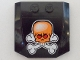 Part No: 45677pb044  Name: Wedge 4 x 4 x 2/3 Triple Curved with Orange Skull and White Crossbones Pattern (Sticker) - Set 8164