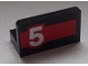 Part No: 4865pb051L  Name: Panel 1 x 2 x 1 with White '5' on Red Stripe Pattern Model Left Side (Sticker) - Set 60025