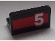 Part No: 4865pb051R  Name: Panel 1 x 2 x 1 with White '5' on Red Stripe Pattern Model Right Side (Sticker) - Set 60025