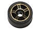 Part No: 50944pb02c01  Name: Wheel 11mm D. x 6mm with 5 Spokes with Gold Outline Pattern with Black Tire 14mm D. x 6mm Solid Smooth (50944pb02 / 50945)