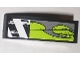 Part No: 50950pb022L  Name: Slope, Curved 3 x 1 with Danger Stripes and Lime Decorative Pattern Model Left (Sticker) - Set 8211