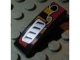 Part No: 50950pb029R  Name: Slope, Curved 3 x 1 No Studs with Silver Vent and Red Flame Pattern Model Right (Sticker) - Set 8648
