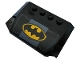 Part No: 52031pb151  Name: Wedge 4 x 6 x 2/3 Triple Curved with Metal Plates and Yellow Batman Logo Pattern (Sticker) - Set 76160