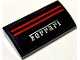 Part No: 61068pb019  Name: Slope, Curved 2 x 4 x 2/3 Without Bottom Tubes with 2 Red Lines and 'Ferrari' on Black Background Pattern (Sticker) - Set 8156