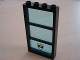 Part No: 6160c03pb03  Name: Window 1 x 4 x 6 Frame with 3 Panes, Fixed Glass with Trans-Light Blue Glass with Police Star Badge & White Stripes Pattern (Sticker) - Set 6598