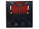 Part No: 6179pb099  Name: Tile, Modified 4 x 4 with Studs on Edge with Dark Red and Silver Body Armor Panels with Blue and White Sections Pattern (Sticker) - Set 76051