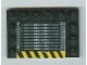 Part No: 6180pb010a  Name: Tile, Modified 4 x 6 with Studs on Edges with Grille and Black and Yellow Danger Stripes Pattern A (Sticker) - Set 6208