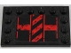 Part No: 6180pb084L  Name: Tile, Modified 4 x 6 with Studs on Edges with Black and Red Danger Stripes Pattern Model Left (Sticker) - Set 8864
