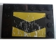 Part No: 6180pb106  Name: Tile, Modified 4 x 6 with Studs on Edges with Black and Yellow Chevrons and Silver Mud Splatter Pattern (Sticker) - Set 8496