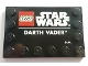 Part No: 6180pb141  Name: Tile, Modified 4 x 6 with Studs on Edges with Star Wars Logo and 'DARTH VADER' Pattern