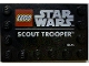 Part No: 6180pb142  Name: Tile, Modified 4 x 6 with Studs on Edges with Star Wars Logo and 'SCOUT TROOPER' Pattern