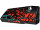 Part No: 64391pb055  Name: Technic, Panel Fairing # 4 Small Smooth Long, Side B with Red 'V' and Stripe, Red Spots and Dark Turquoise Lines Pattern (Sticker) - Set 71713
