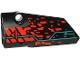 Part No: 64683pb055  Name: Technic, Panel Fairing # 3 Small Smooth Long, Side A with Red 'V' and Stripe, Red Spots and Dark Turquoise Lines Pattern (Sticker) - Set 71713
