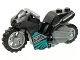 Part No: 75533pb01c01  Name: Stuntz Flywheel Motorcycle with Dark Bluish Gray Frame and Handlebars, 'NITRO' and Dark Turquoise Trim Pattern