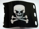 Part No: 84622  Name: Plastic Flag 7 x 4 with Pirate Skull and Crossbones (Jolly Roger) Pattern Evil Skull