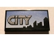 Part No: 87079pb0014  Name: Tile 2 x 4 with Gray 'CITY' and Skyline on Blue Background Pattern (Sticker) - Set 8404