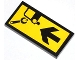 Part No: 87079pb0138  Name: Tile 2 x 4 with Wrench, Car and Black Arrow Pattern (Sticker) - Set 4207