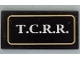Part No: 87079pb0173  Name: Tile 2 x 4 with White 'T.C.R.R.' in Gold Border Pattern (Sticker) - Set 79111