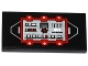 Part No: 87079pb0189  Name: Tile 2 x 4 with Red and Silver Control Panel with Black Saw Blade and White 'LOCK' Pattern (Sticker) - Set 70725