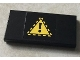 Part No: 87079pb0218  Name: Tile 2 x 4 with Black Exclamation Mark in Yellow Triangle on Black Background Pattern (Sticker) - Set 76022