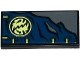 Part No: 87079pb0261  Name: Tile 2 x 4 with Dark Blue Cloth with 6 Eyelets, Ninjago Emblem and Yellowish Green Laces Pattern (Sticker) - Set 70737