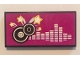 Part No: 87079pb0316  Name: Tile 2 x 4 with Black and Silver Record Disks and Silver Frequency Bars on Magenta Background Pattern (Sticker) - Set 41058