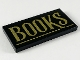Part No: 87079pb0671  Name: Tile 2 x 4 with Gold 'BOOKS' and Underline Pattern