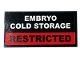 Part No: 87079pb0815  Name: Tile 2 x 4 with 'EMBRYO COLD STORAGE' and 'RESTRICTED' Pattern (Sticker) - Set 75932