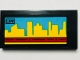 Part No: 87079pb0822  Name: Tile 2 x 4 with Video Screen, 'LIVE' and Yellow Skyline on Medium Azure Background Pattern (Sticker) - Set 60102
