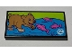 Part No: 87079pb0882  Name: Tile 2 x 4 with Bear Cub and Dark Pink Fish on TV Pattern (Sticker) - Set 41339