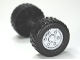 Part No: 88762c02pb02  Name: Duplo Wheel Double Assembly With Tread with Metal Axle and Metallic Silver Classic Pattern