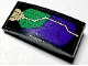 Part No: 93606pb113L  Name: Slope, Curved 4 x 2 with Dark Purple and Green Armor Plates and Gold Circuitry Pattern Model Left Side (Sticker) - Set 76097