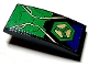 Part No: 93606pb114  Name: Slope, Curved 4 x 2 with Dark Purple and Green Armor Plates and Hexagon and Gold Circuitry Pattern (Sticker) - Set 76097
