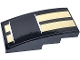 Part No: 93606pb118  Name: Slope, Curved 4 x 2 with Two Gold Stripes Pattern (Sticker) - Set 75884