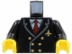 Part No: 973pb0109c01  Name: Torso Airplane Pilot, Suit Double Breasted, Red Tie, Gold Buttons and Logo Pin Pattern / Black Arms / Yellow Hands