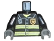 Part No: 973pb0300c02  Name: Torso Fire Uniform Badge and Stripes Pattern with Radio / Black Arms / Dark Bluish Gray Hands