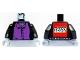Part No: 973pb0312ac01  Name: Torso Harry Potter Professor Snape 4 Black Buttons Pattern - LEGO Logo on Back / Black Arms / Light Bluish Gray Hands