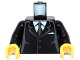 Part No: 973pb0322c01  Name: Torso Suit with 2 Buttons, Gray Sides, Gray Centerline and Tie Pattern / Black Arms / Yellow Hands