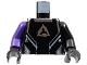 Part No: 973pb0351c01  Name: Torso Alpha Team Arctic Logo, Black Shirt and Silver Lines Pattern / Black Arm Left / Dark Purple Arm Right / Black Hands