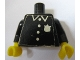 Part No: 973pb0387c01  Name: Torso Police Old with Badge and 4 Buttons Pattern (Sticker) / Black Arms / Yellow Hands