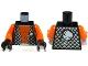 Part No: 973pb0579c01  Name: Torso Alien with Orange Skin and Black Open Vest with Alien Head Pattern / Orange Arms / Black Hands