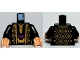 Part No: 973pb0650c01  Name: Torso Arabian Robe with Gold Trim at Neck, Gold Pattern Front and Back / Black Arms / Light Nougat Hands