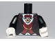 Part No: 973pb0720c01  Name: Torso Suit with Dark Red Vest and Bow Tie, Gold Chain and Medallion Pattern (Vampire) / Black Arms / White Hands