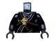 Part No: 973pb0837c01  Name: Torso Ninjago Brown Rope, Gold Medallion and Black Undershirt Pattern / Black Arms / Black Hands