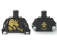 Part No: 973pb0863c01  Name: Torso Ninjago Gold Dragon Front and Gold Lion and 'COLE' Back Pattern / Black Arms / Black Hands