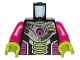 Part No: 973pb0898c01  Name: Torso Alien Conquest Alien Three Lime Bars Pattern / Magenta Arms / Lime Hands