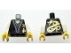 Part No: 973pb0926c01  Name: Torso Ninjago Gold Asian Characters Front and Dragon Back Pattern / White Arms / Yellow Hands