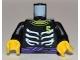 Part No: 973pb1019c01  Name: Torso Ninjago Skeleton Ribs White, Purple Waist Sash and Number 5 Pattern / Black Arms / Yellow Hands